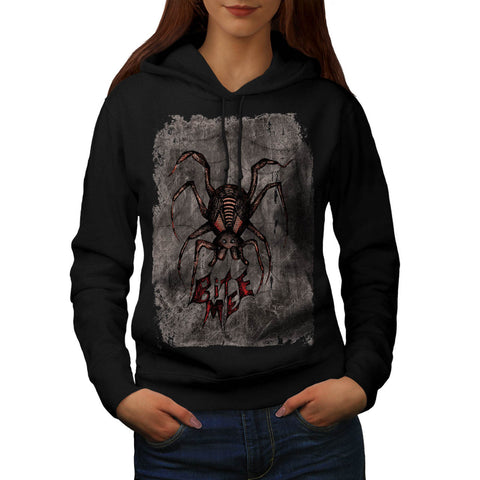 Spider Fear Bite Me Web Womens Hoodie