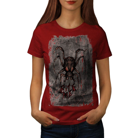 Spider Fear Bite Me Web Womens T-Shirt