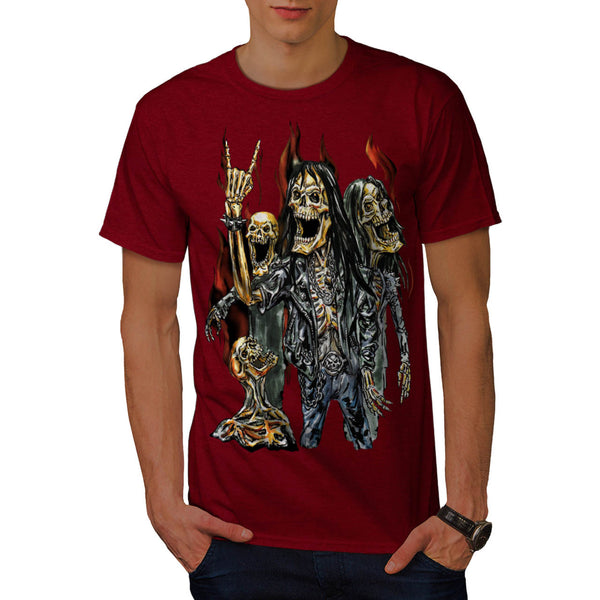 Skeleton Rock Band Mens T-Shirt