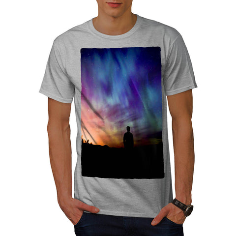 Man In Glowing Sky Mens T-Shirt