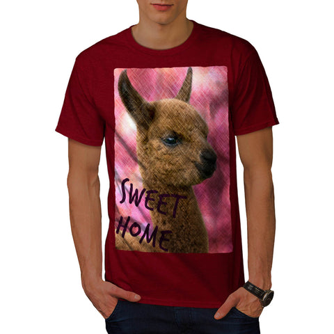 Furry Llama Face Eyes Mens T-Shirt