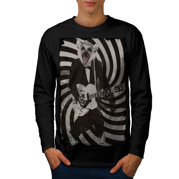 Rock Music Raccoon Mens Long Sleeve T-Shirt