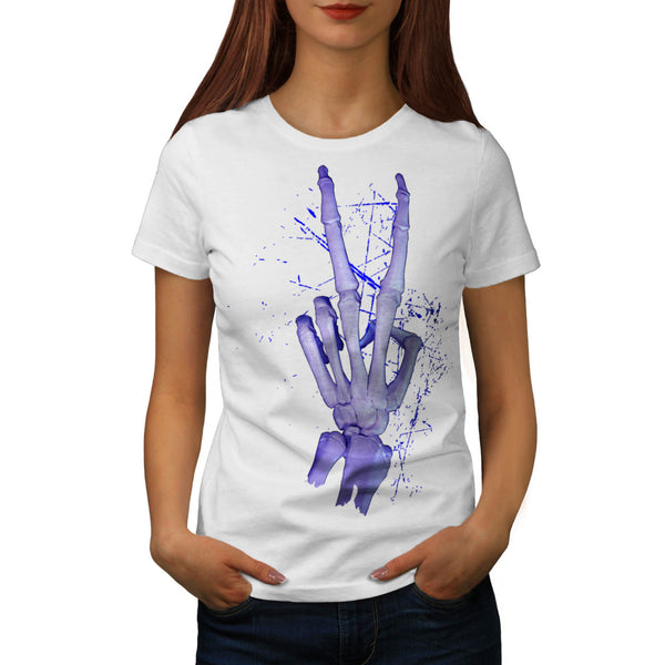 Peace Sign Skeleton Womens T-Shirt