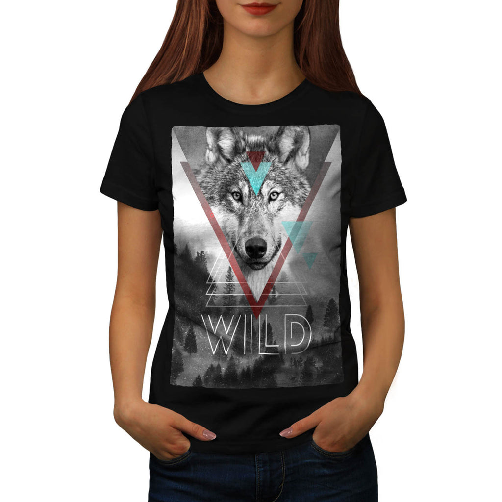 Wolf Head In Forest Womens T-Shirt