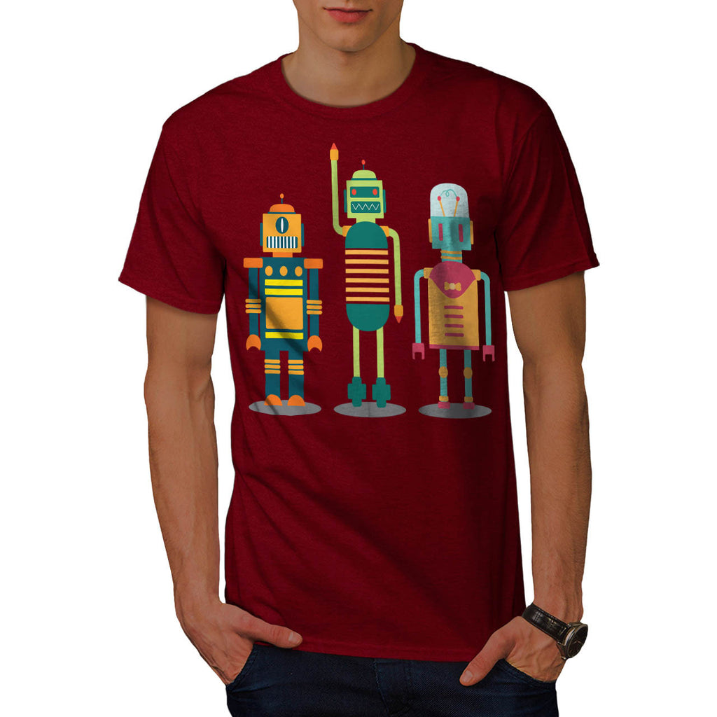 Cartoon Robot Party Mens T-Shirt