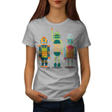 Cartoon Robot Party Womens T-Shirt