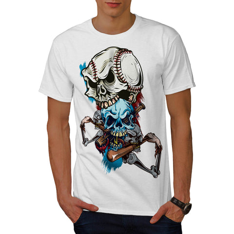 Skull Play Baseball Mens T-Shirt