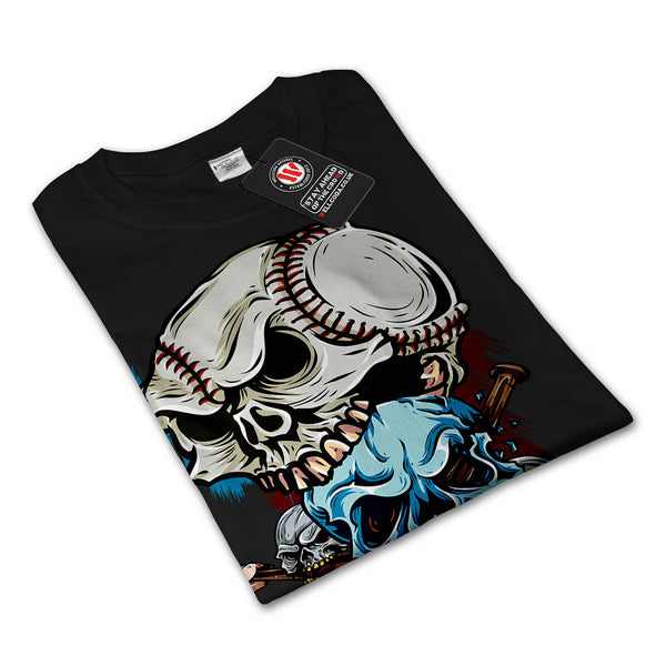 Skull Play Baseball Mens Long Sleeve T-Shirt