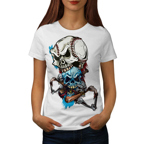 Skull Play Baseball Womens T-Shirt