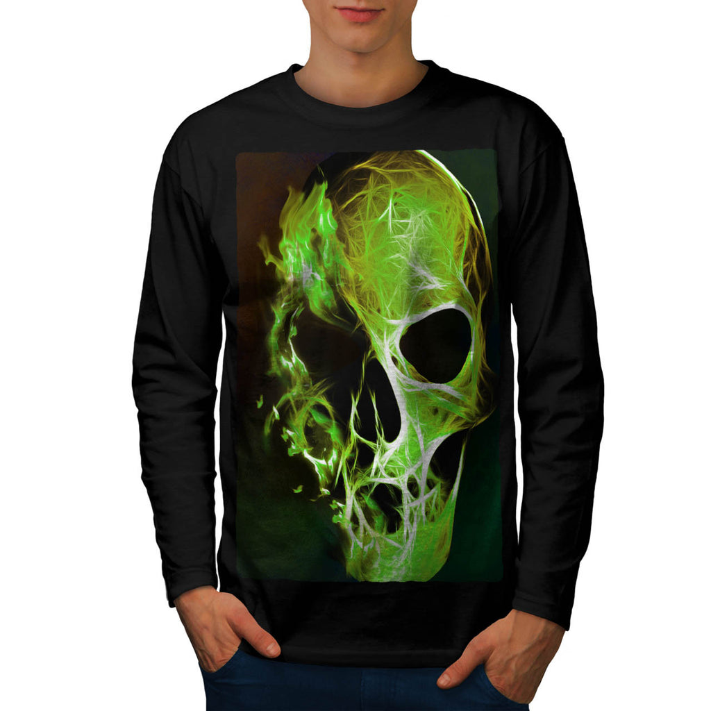 Skull Head Flame Art Mens Long Sleeve T-Shirt