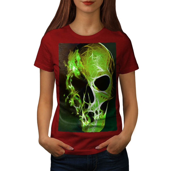 Skull Head Flame Art Womens T-Shirt