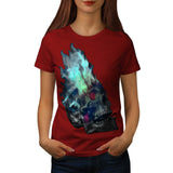 Skull Rose Flame Art Womens T-Shirt