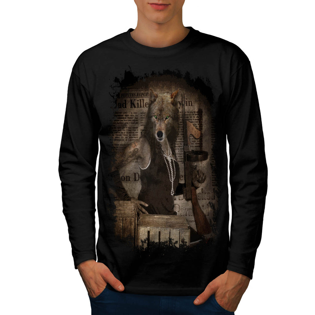 Woman Body Wolf Head Mens Long Sleeve T-Shirt