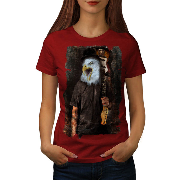 Eagle Playing Guitar Womens T-Shirt