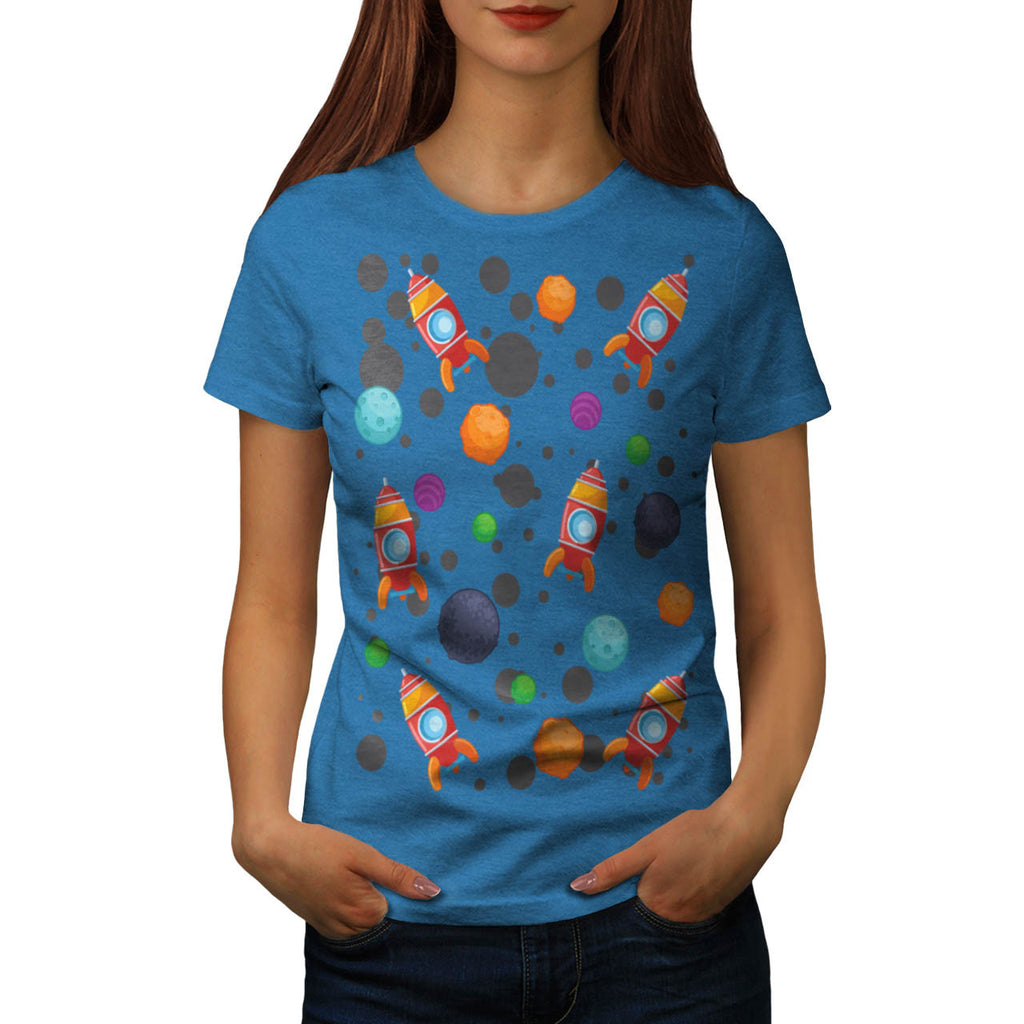 Rocket Moon Landing Womens T-Shirt