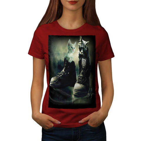 Cute Kitten In Boot Womens T-Shirt