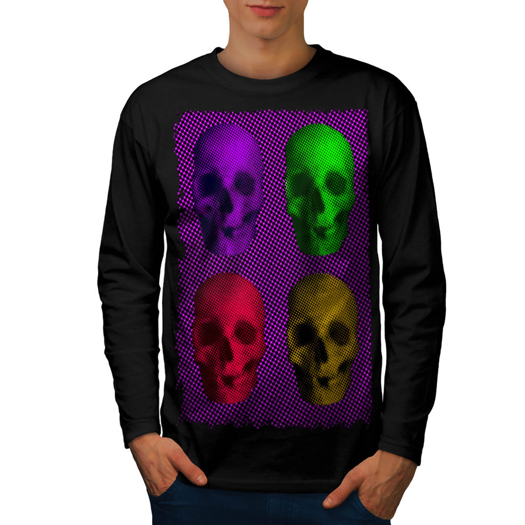 Skull Glow Art Head Mens Long Sleeve T-Shirt