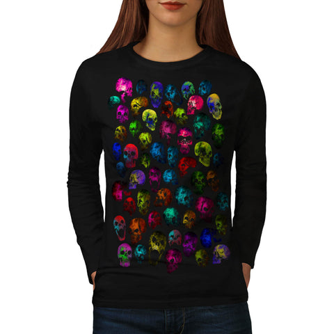 Skull Glow Head Art Womens Long Sleeve T-Shirt