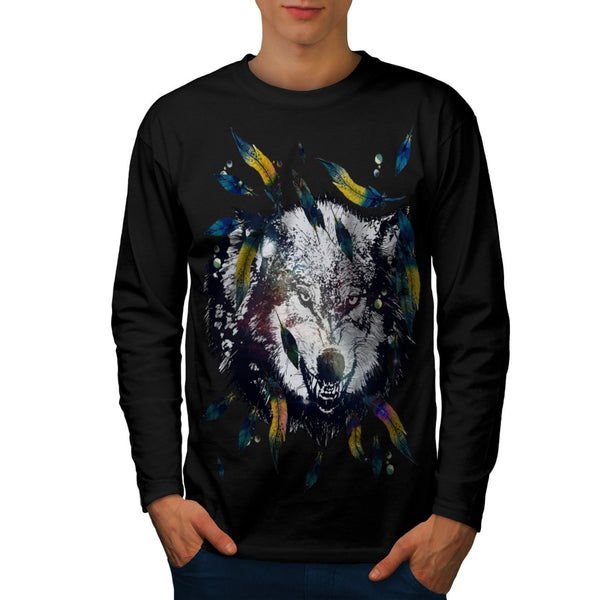 Angry Tribal Wolf Mens Long Sleeve T-Shirt
