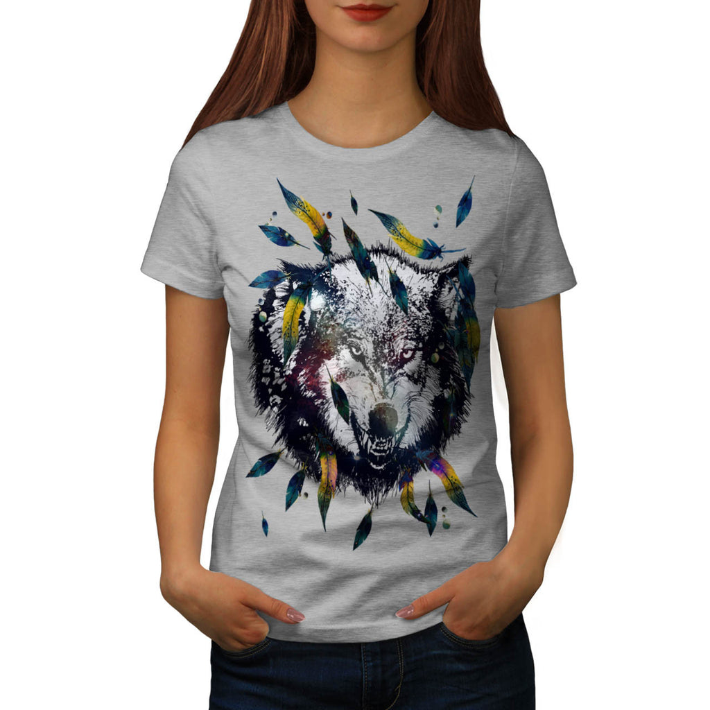 Angry Tribal Wolf Womens T-Shirt