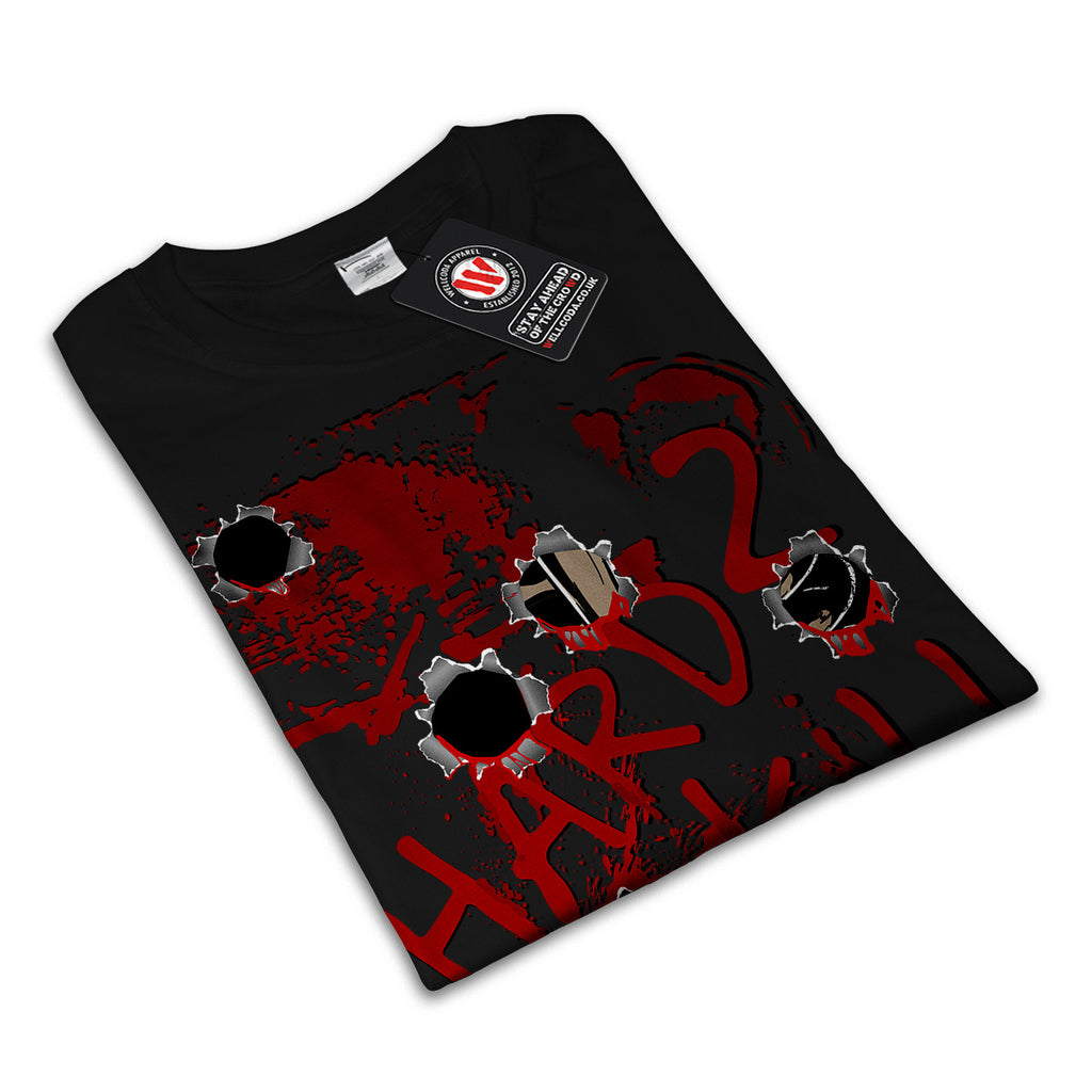 Bullet Hole Blood Mens Black White Grey Red Royal Blue T Shirt