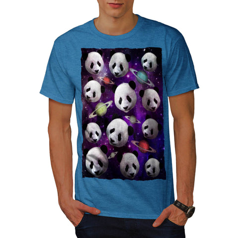 3D Panda Cool Space Mens T-Shirt