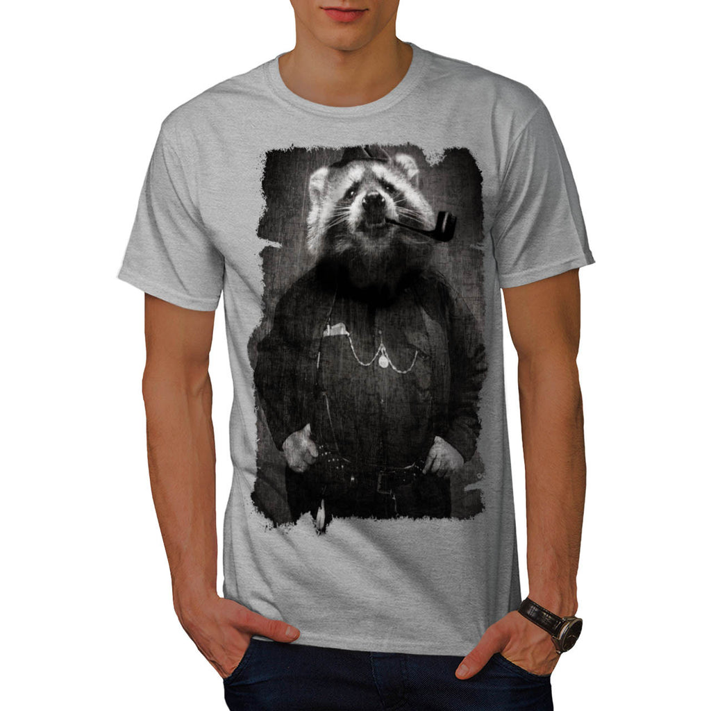 Agent Sheriff Racoon Mens T-Shirt
