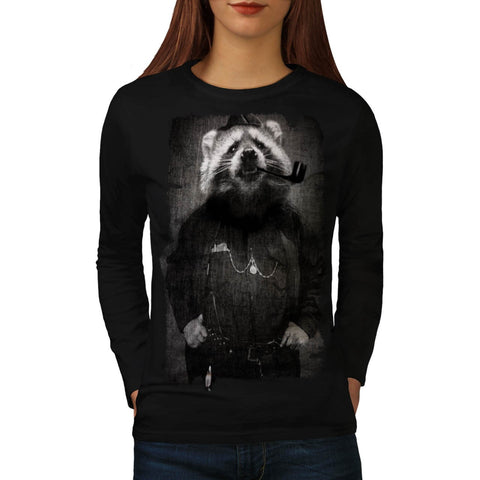 Agent Sheriff Racoon Womens Long Sleeve T-Shirt