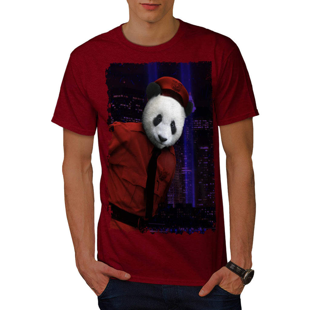 Panda Police Officer Mens T-Shirt