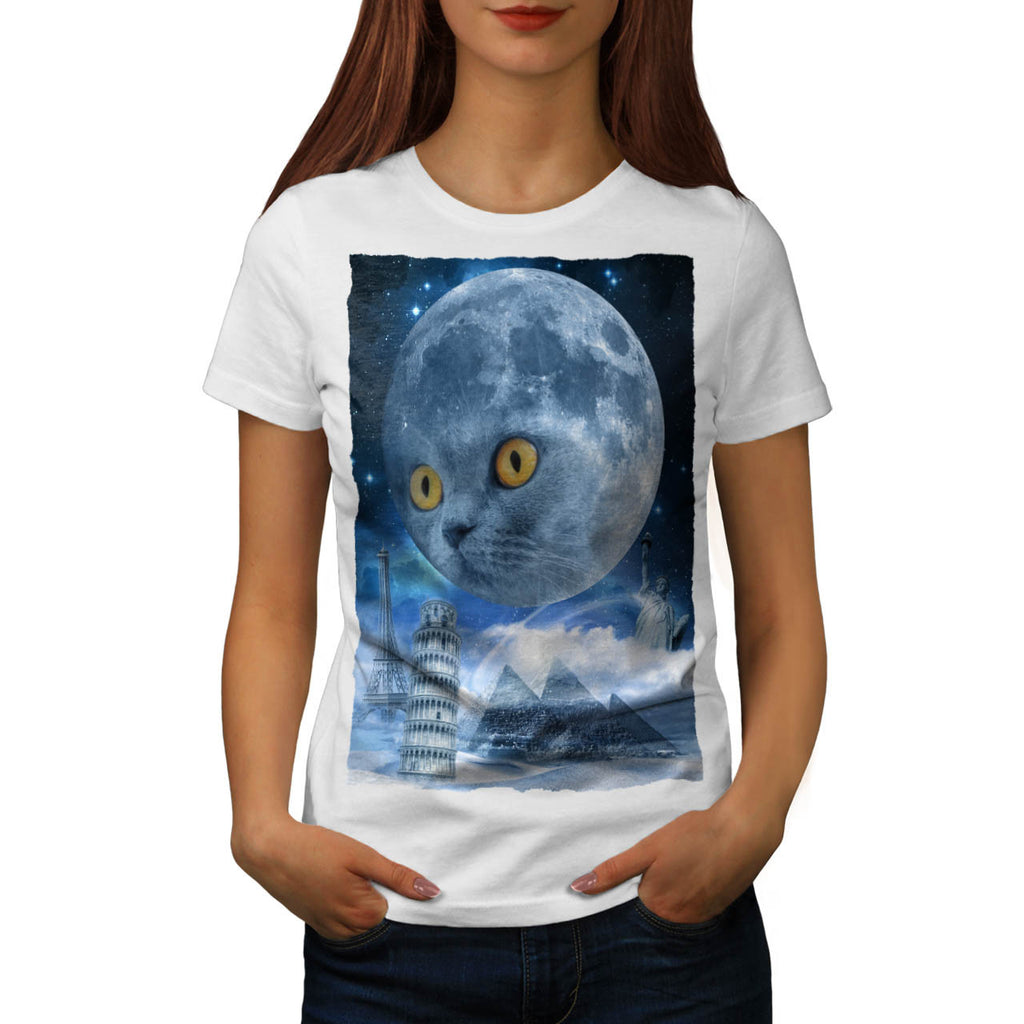 Magic World Moon Cat Womens T-Shirt