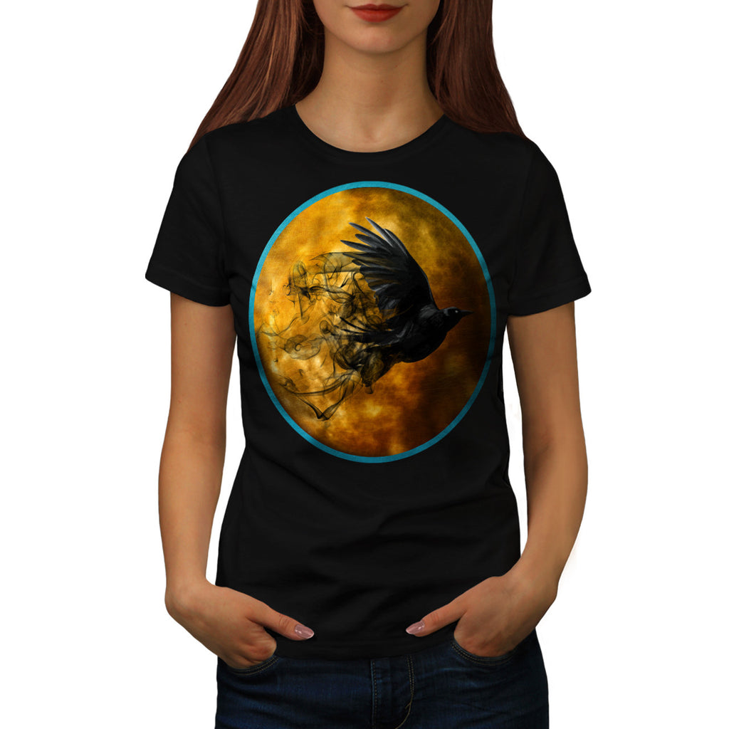 Fly Crow Planet Sun Womens T-Shirt
