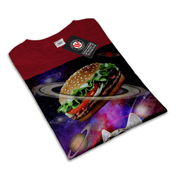 Space Burger Cat Fun Womens T-Shirt
