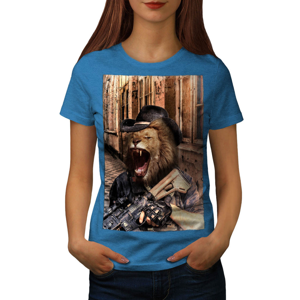 Angry Fury Lion Gun Womens T-Shirt