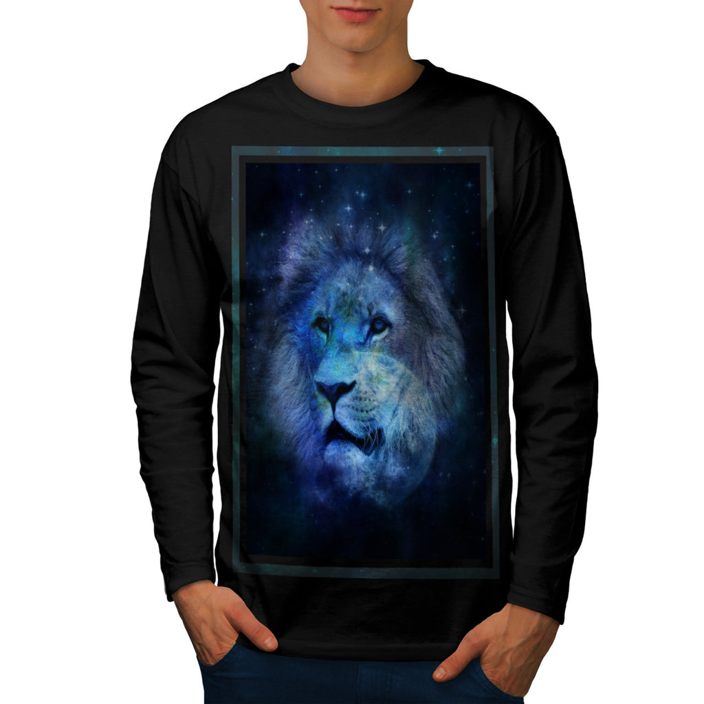 Space Lion Fantasy Mens Long Sleeve T-Shirt