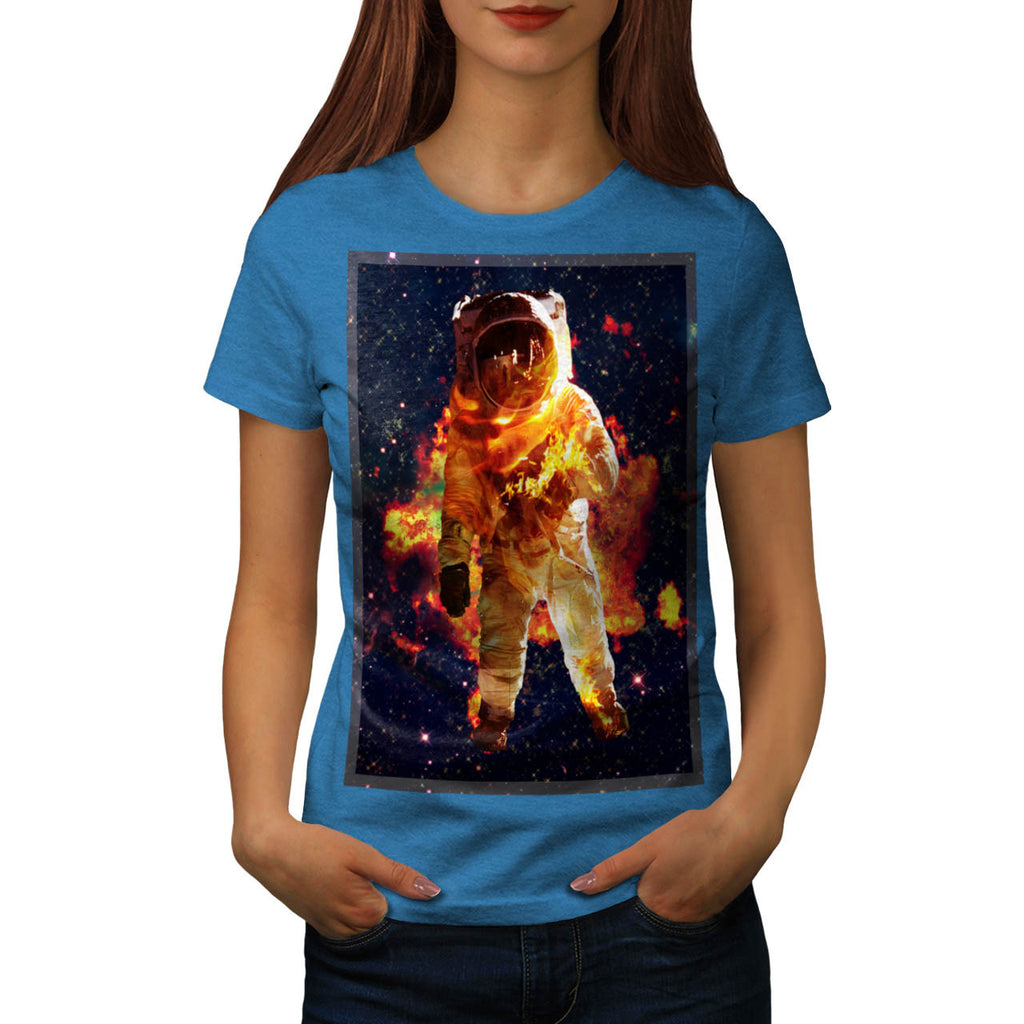 Astronaut On Fire Womens T-Shirt