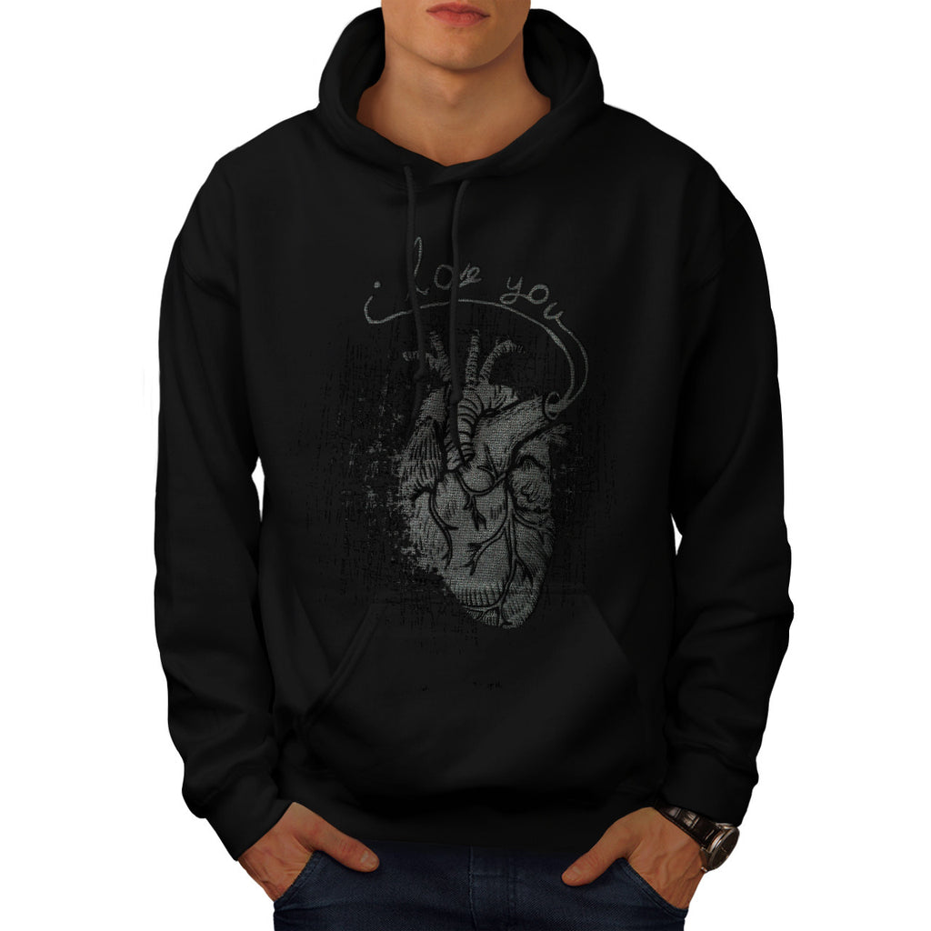 I love You Heart Mens Hoodie