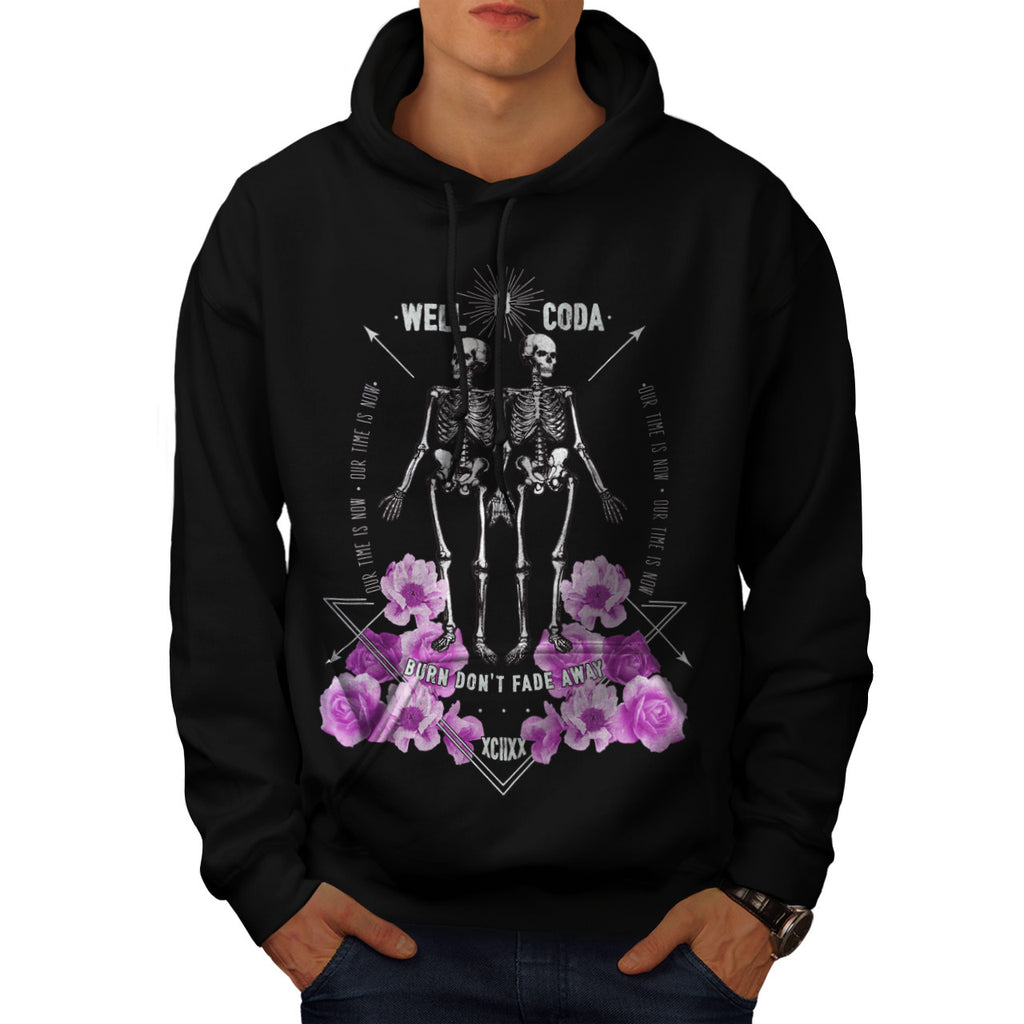 Skull Body Flower Art Mens Hoodie