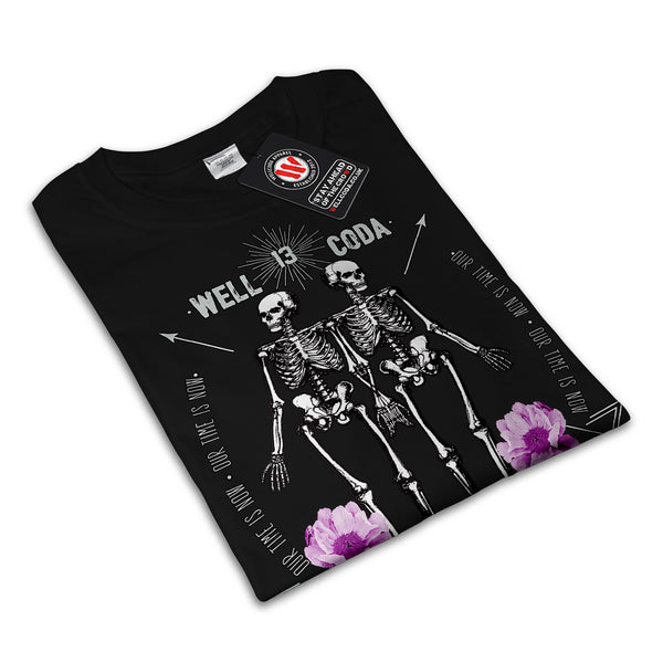 Skull Body Flower Art Womens T-Shirt