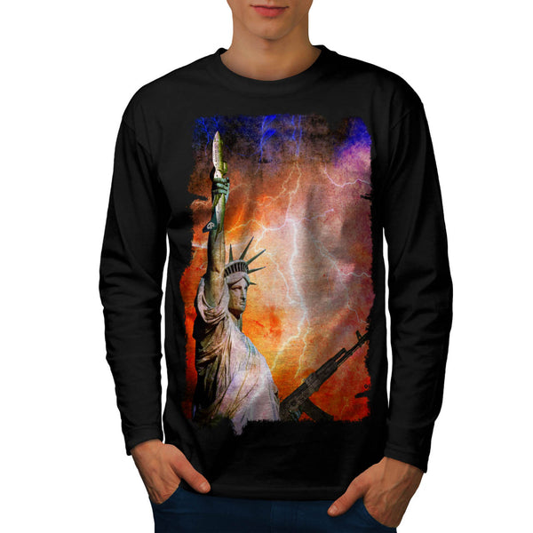 Liberty Statue Irony Mens Long Sleeve T-Shirt