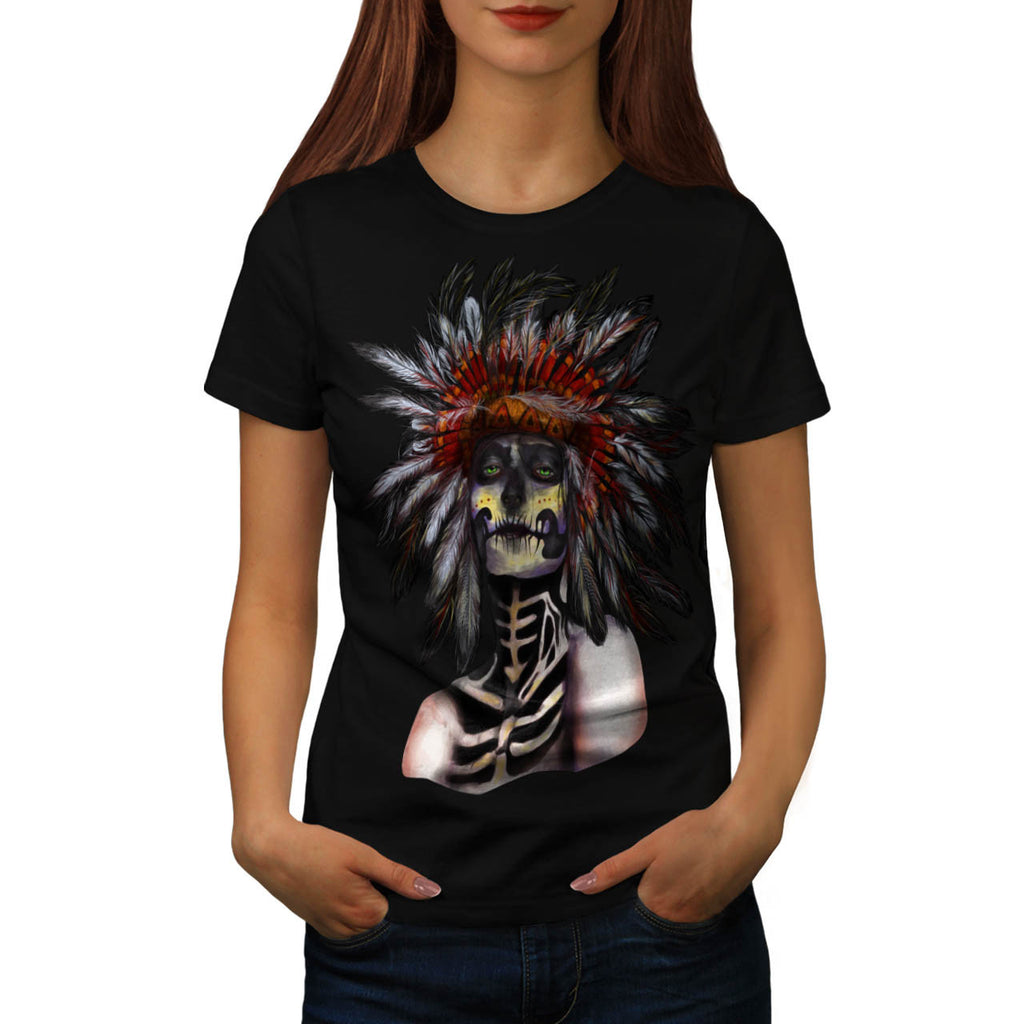Skull Indian Warrior Womens T-Shirt