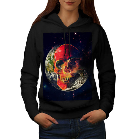 Cosmic Earth Skull Womens Hoodie
