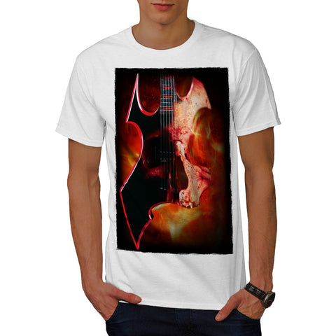 Burning Guitar Skull Mens T-Shirt