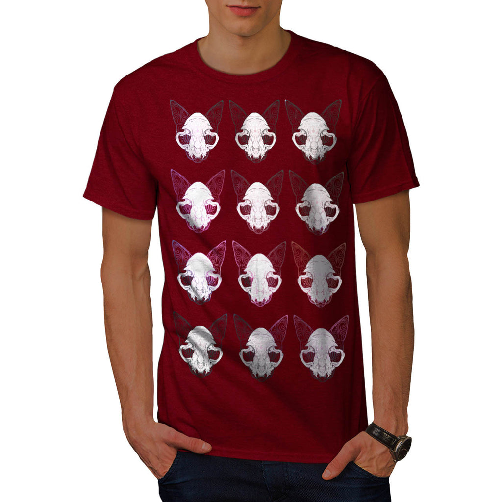 Cat Face Ornament Mens T-Shirt