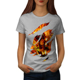 Burning Skull Face Womens T-Shirt