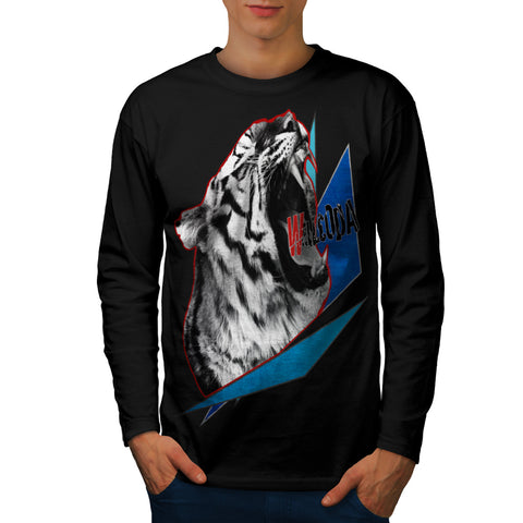 Roaring Tiger Head Mens Long Sleeve T-Shirt