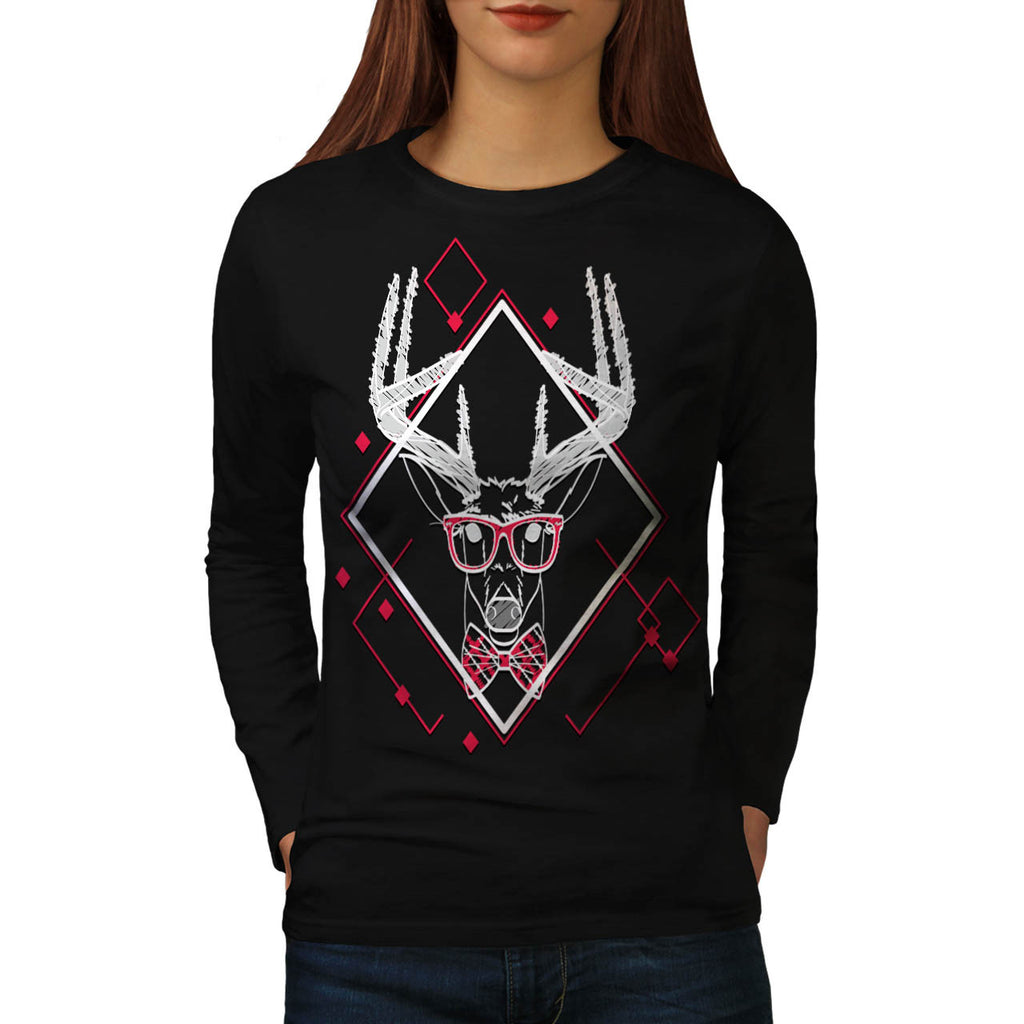 Hipster Swag Reindeer Womens Long Sleeve T-Shirt