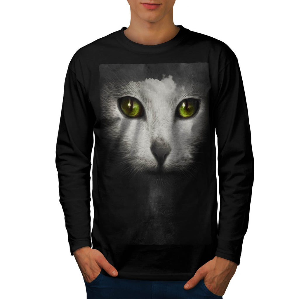 Cute Kitten Face Mens Long Sleeve T-Shirt
