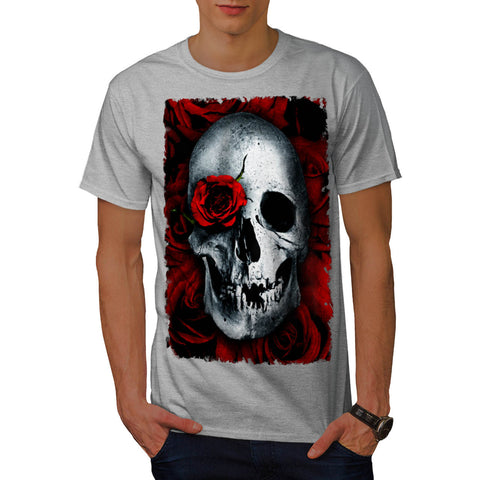 Skull Flower Rose Mens T-Shirt