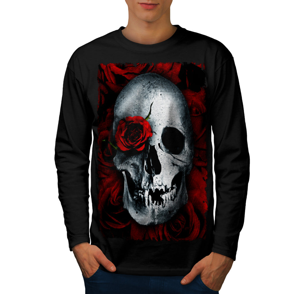 Skull Flower Rose Mens Long Sleeve T-Shirt