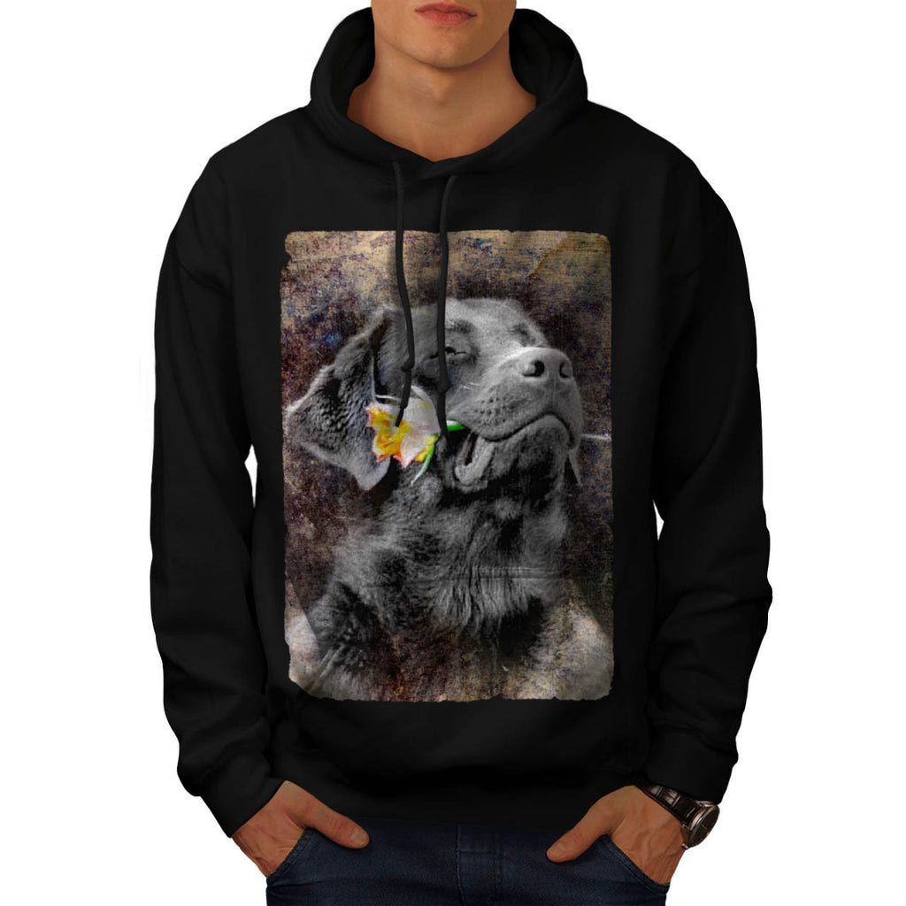 Happy Dog Flower Mens Hoodie